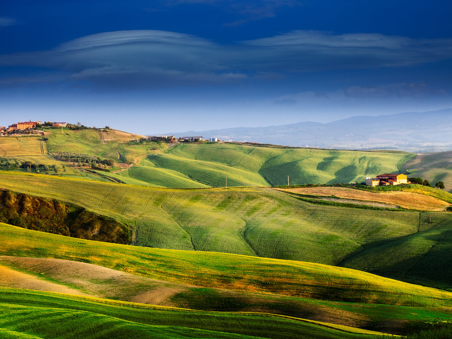 Beautiful and miraculous colors of green spring landscape of Tuscany, Italy
