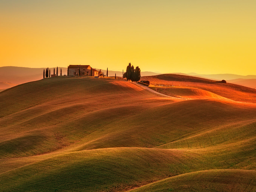Tuscany rural landscape in Crete Senesi land. Rolling hills countryside farm cypresses trees green field on warm sunset. Siena Italy Europe.png